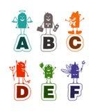 Het alfabet van het beeldverhaal - A aan F Stock Foto's