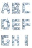 Het alfabet van het geld Stock Afbeeldingen