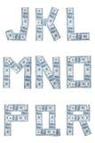 Het alfabet van het geld Stock Foto's