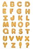 Het alfabet van het koekje stock afbeelding
