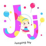 Het alfabet van jonge geitjes Engelse brieven met de karakters van beeldverhaalkinderen J voor springende Vreugde Meisje het spel royalty-vrije illustratie