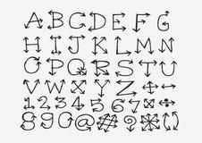 Het alfabet van schetspijlen, Pijldoopvont A door Z en aantallen Stock Afbeelding