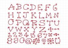 Het alfabet van schetspijlen, Pijldoopvont A door Z en aantallen Stock Foto