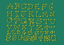 Het alfabet van schetspijlen, Pijldoopvont A door Z en aantallen Stock Fotografie