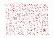 Het alfabet van schetspijlen, Pijldoopvont A door Z en aantallen Royalty-vrije Stock Fotografie