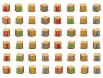 Het alfabetbouwstenen van het kind, diverse hoeken Stock Foto's