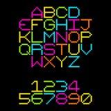 het Alfabetbrieven met 8 bits van het Pixel Retro Neon EPS8 vector Royalty-vrije Stock Foto
