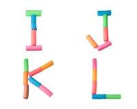 Het alfabetbrieven van de plasticine (I, J, K, L) Royalty-vrije Stock Foto's