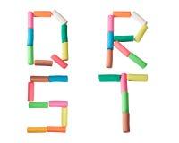 Het alfabetbrieven van de plasticine (Q, R, S, T) Royalty-vrije Stock Foto's