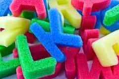 Het alfabetbrieven van de spons Stock Foto