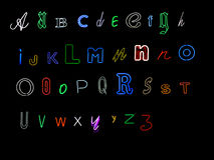 Het alfabetbrieven van het neon Royalty-vrije Stock Fotografie