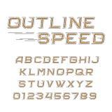 Het alfabetdoopvont van de overzichtssnelheid Schuine letters en getallen in lijnstijl Stock Foto's