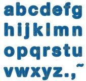 Het alfabetkleine letters van jeans Stock Foto's