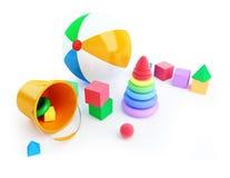 Het alfabetkubus van het speelgoed, strandbal, piramide Stock Foto