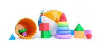 Het alfabetkubus van het speelgoed, strandbal, piramide Stock Foto's