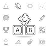 het alfabetpictogram van het brievena B C embleem Gedetailleerde reeks pictogrammen van het onderwijsoverzicht Het grafische ontw stock illustratie