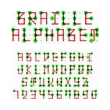 Het alfabetpunctuatie en aantallen van braille Stock Afbeeldingen