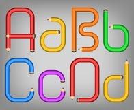 Het alfabetstijl van het kleurenpotlood Stock Afbeelding