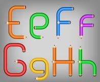 Het alfabetstijl van het kleurenpotlood Royalty-vrije Stock Fotografie