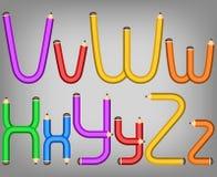 Het alfabetstijl van het kleurenpotlood Royalty-vrije Stock Foto