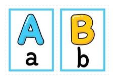 Het alfabetvector van de flitskaart Gekleurde van de de Kaarten vector vrije hand van de Alfabetflits de stijlvector royalty-vrije illustratie