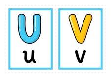 Het alfabetvector van de flitskaart Gekleurde van de de Kaarten vector vrije hand van de Alfabetflits de stijlvector stock illustratie