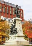 Het algemene Rochambeau-Park Autumn Washington gelijkstroom van Standbeeldlafayette stock foto