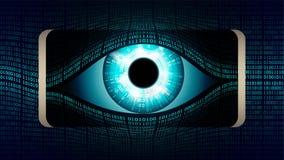 Het alle-ziet oog van Grote broer in uw smartphone, concept permanent globaal heimelijk toezicht die mobiele apparaten met behulp vector illustratie