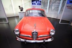 Het alpha- model van Romeo Giulietta Sedan op vertoning bij het Historische Museum Alfa Romeo stock foto's