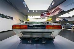 Het alpha- model van Romeo Italdesign Iguana op vertoning bij het Historische Museum Alfa Romeo royalty-vrije stock fotografie