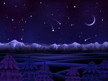 Het alpiene landschap van de nacht royalty-vrije illustratie