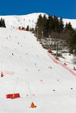 Het alpiene skiån piste Royalty-vrije Stock Foto's
