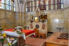 Het altaar van de Kerk van de Flagellatie, die in het Moslimkwart van de Oude Stad van Jeruzalem, Isra?l wordt gevestigd stock afbeelding