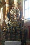 Het altaar van heilige Barbara in de Kerk van Onze Dame van de Sneeuw in Belec, Kroatië Royalty-vrije Stock Afbeelding