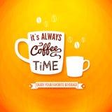 Het is altijd koffietijd. Affiche met koffiekoppen op een heldere CH Royalty-vrije Stock Fotografie