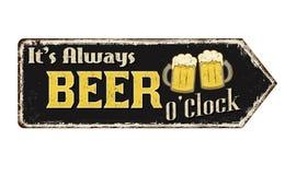 Het is altijd uitstekend roestig het metaalteken van bieruur royalty-vrije illustratie