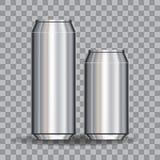 Het aluminium blikt Lege 500 en 330 ml in bij transparantiegridfor ontwerp en het brandmerken De illustratie van de voorraad Royalty-vrije Stock Afbeelding