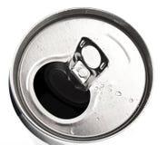 Het aluminium kan close-up met waterdalingen Royalty-vrije Stock Foto