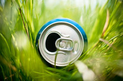 Het aluminium kan in gras Stock Foto's