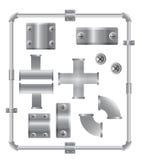 Het aluminium leidt vector vastgesteld ontwerpmalplaatje door buizen Royalty-vrije Stock Afbeeldingen