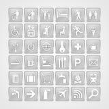 De pictogrammen van het reisaluminium Stock Foto's