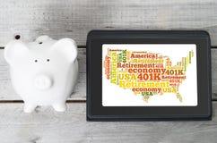 Het Amerikaanse concept van het pensioneringsplan Stock Fotografie