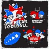 Het Amerikaanse Embleem Set_1 van de Voetbal Royalty-vrije Stock Afbeeldingen
