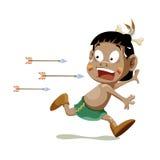 Het Amerikaanse Indische jongen lopen Stock Foto's