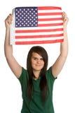 Het Amerikaanse Meisje van de Vlag stock afbeelding