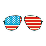 Het Amerikaanse pictogram van vlagglazen Stock Foto
