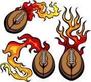 Het Amerikaanse Vlammen van de Bal van de Voetbal vector illustratie