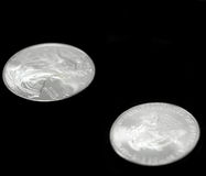 Het Amerikaanse zilveren muntstuk van de adelaarsdollar Stock Foto's