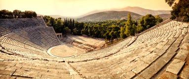 Het amfitheater van Epidaurus Stock Foto's