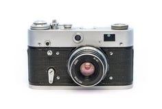 Het analoge sovjetcameraeof op witte achtergrond Oud stoffig retro film fotografisch materiaal stock afbeelding